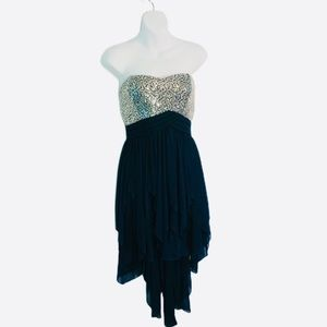 Sequin Hearts Strapless Prom Dress